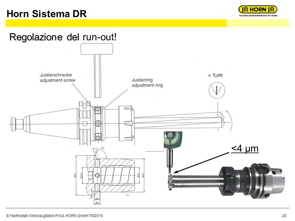 © Hartmetall-Werkzeugfabrik PAUL HORN GmbH TM2010 Horn Sistema DR <4 µm Regolazione del Regolazione del run-out! 20