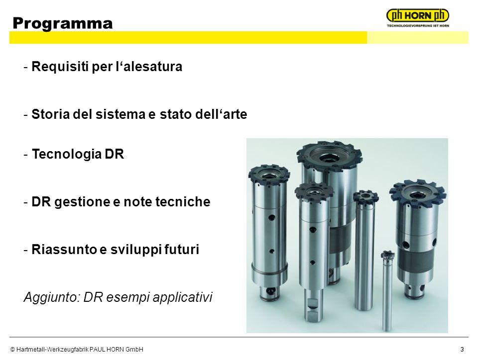 © Hartmetall-Werkzeugfabrik PAUL HORN GmbH 3 Programma - Requisiti per lalesatura - Storia del sistema e stato dellarte - Tecnologia DR - DR gestione