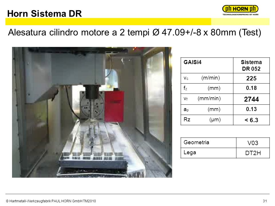 © Hartmetall-Werkzeugfabrik PAUL HORN GmbH TM2010 GAlSi4Sistema DR 052 v c (m/min) 225 f z (mm)0.18 v f (mm/min) 2744 a p (mm)0.13 Rz (μm) < 6.3 Alesatura cilindro motore a 2 tempi Ø 47.09+/-8 x 80mm (Test) Geometria V03 Lega DT2H Horn Sistema DR 31