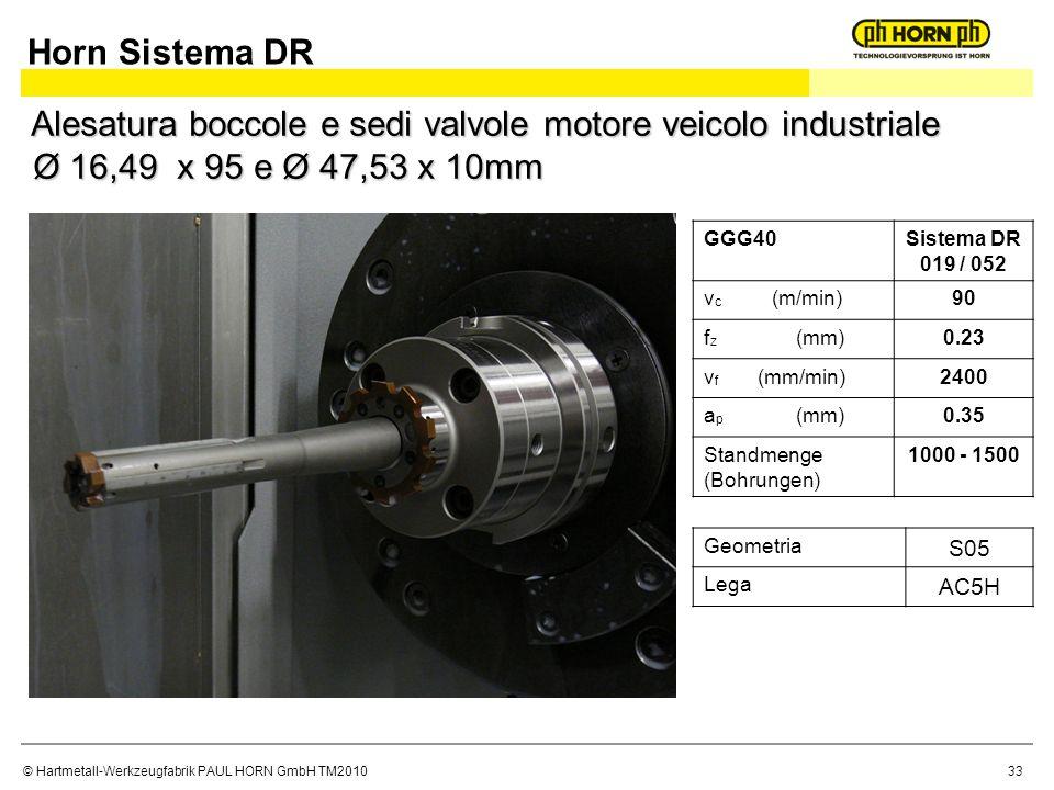 © Hartmetall-Werkzeugfabrik PAUL HORN GmbH TM2010 GGG40Sistema DR 019 / 052 v c (m/min)90 f z (mm)0.23 v f (mm/min)2400 a p (mm)0.35 Standmenge (Bohrungen) 1000 - 1500 Geometria S05 Lega AC5H Horn Sistema DR Alesatura boccole e sedi valvole motore veicolo industriale Ø 16,49 x 95 e Ø 47,53 x 10mm 33