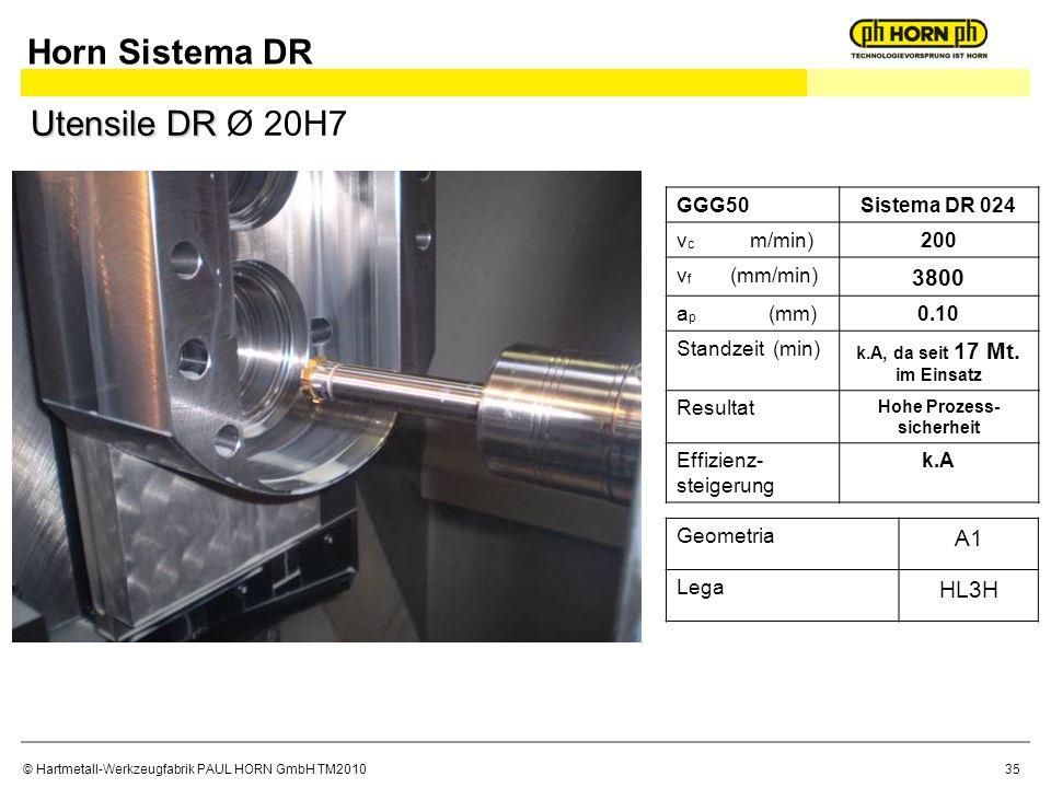 © Hartmetall-Werkzeugfabrik PAUL HORN GmbH TM2010 GGG50Sistema DR 024 v c m/min)200 v f (mm/min) 3800 a p (mm)0.10 Standzeit (min) k.A, da seit 17 Mt.