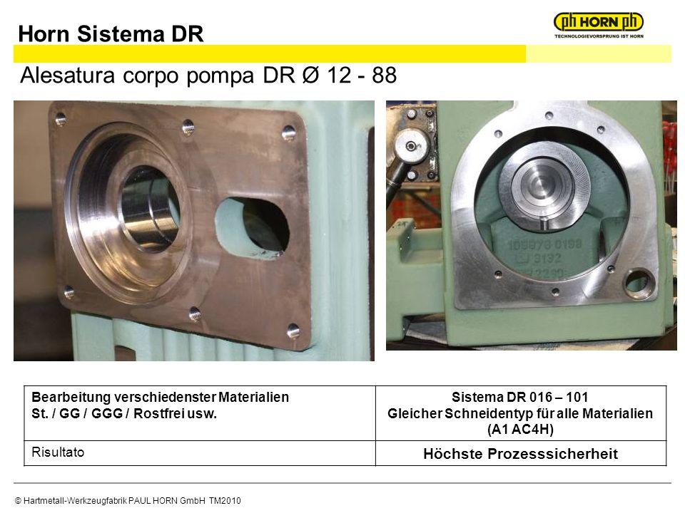 © Hartmetall-Werkzeugfabrik PAUL HORN GmbH TM2010 Alesatura corpo pompa DR Ø 12 - 88 Bearbeitung verschiedenster Materialien St.