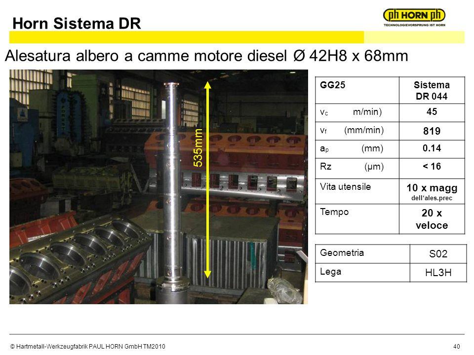 © Hartmetall-Werkzeugfabrik PAUL HORN GmbH TM2010 Alesatura albero a camme motore diesel Ø 42H8 x 68mm 535mm GG25Sistema DR 044 v c m/min)45 v f (mm/min) 819 a p (mm)0.14 Rz (μm)< 16 Vita utensile 10 x magg dellales.prec Tempo 20 x veloce Geometria S02 Lega HL3H Horn Sistema DR 40