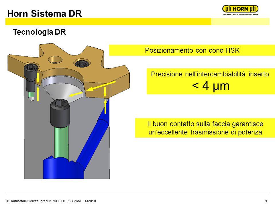 © Hartmetall-Werkzeugfabrik PAUL HORN GmbH TM2010 Precisione nellintercambiabilità inserto: < 4 µm Posizionamento con cono HSK Il buon contatto sulla faccia garantisce uneccellente trasmissione di potenza Tecnologia DR Horn Sistema DR 9