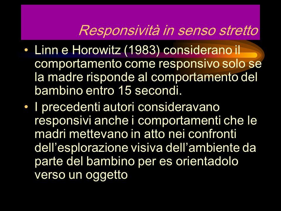Può essere utilizzata anche ununica categoria Bornstein e Tamis-LeMonda (1989) definiscono la responsività nellesibizione da parte della madre di comp