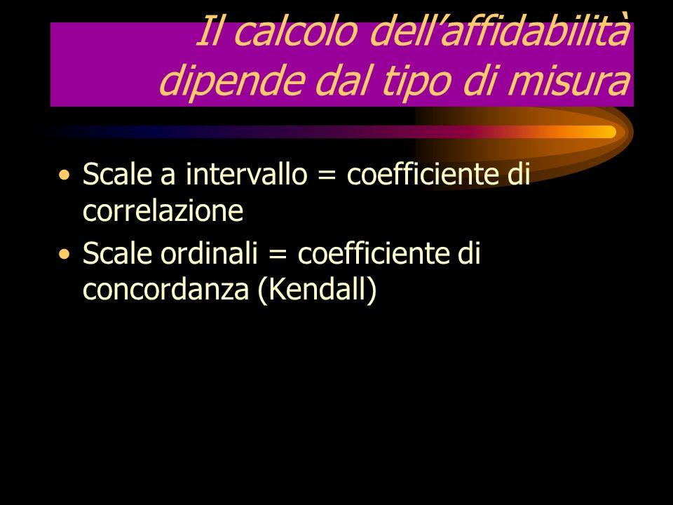 Valutazione della scelta dellaffidabilità Si vuole sapere quanto lo strumento sia affidabile Laffidabilità si valuta sotto due aspetti: 1.accuratezza