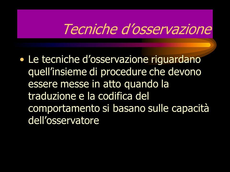 Una ricerca osservativa È una registrazione del corso del comportamento in assenza di tentativi di influenzarlo I soggetti sono liberi di variare le l