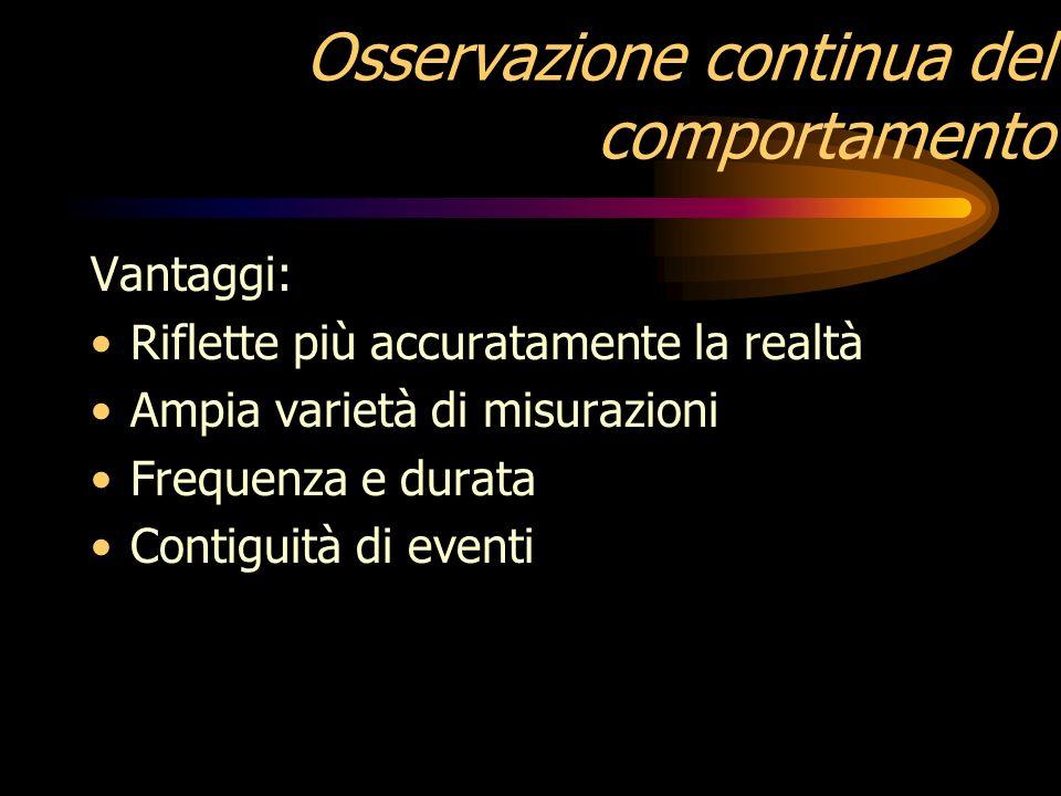 Osservazione a intervalli temporali Vantaggi: È di facile uso Si utilizza sul campo Alto livello di fedeltà e di oggettività Svantaggi: Non dà informa