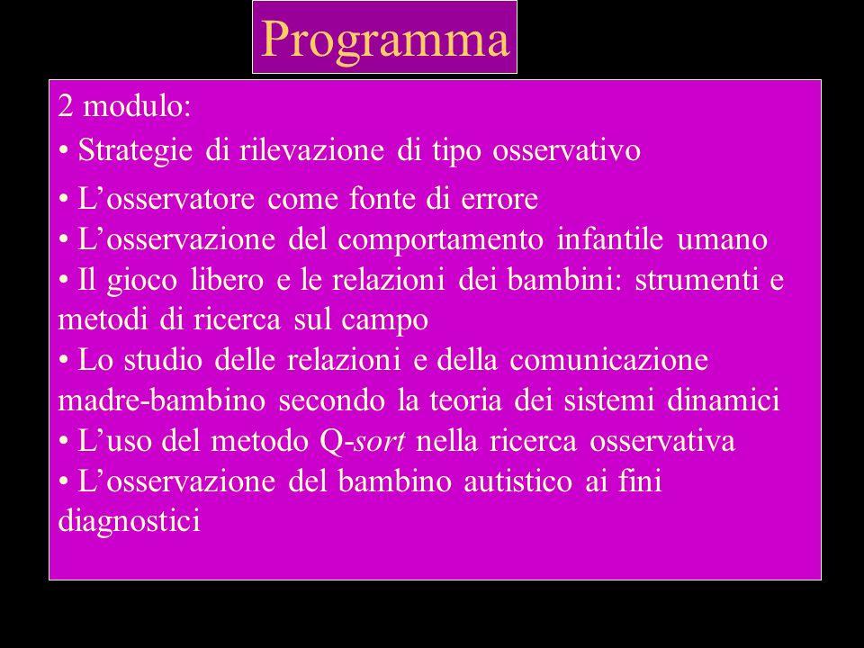 Programma 1 modulo: Osservazione,metodo osservativo e tecniche dosservazione Lalternativa tra ricerca osservativa e ricerca sperimentale La ricerca os