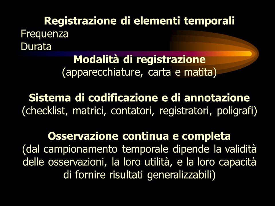 Piano di osservazione Obiettivi della ricerca Possibilità di procedere a osservazioni Precisione, potenza, efficacia Scelta di una tassonomia I modell