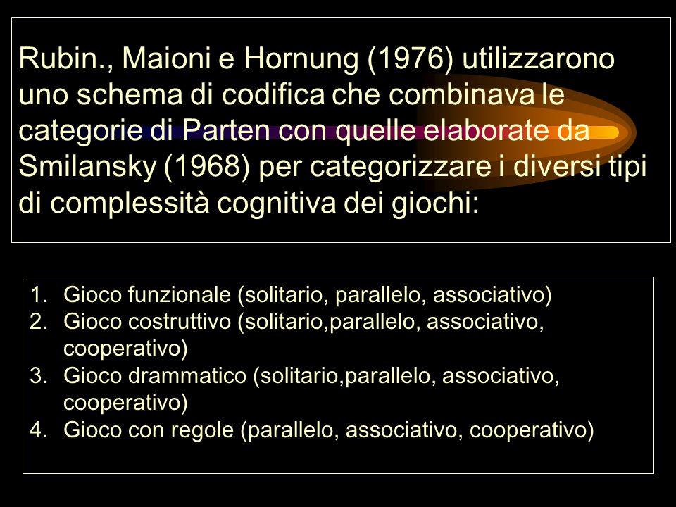 Lo studio delle interazioni sociali tra coetanei Parten(1932) aveva individuato 6 categorie comportamentali, gerarchicamente ordinate, che definivano