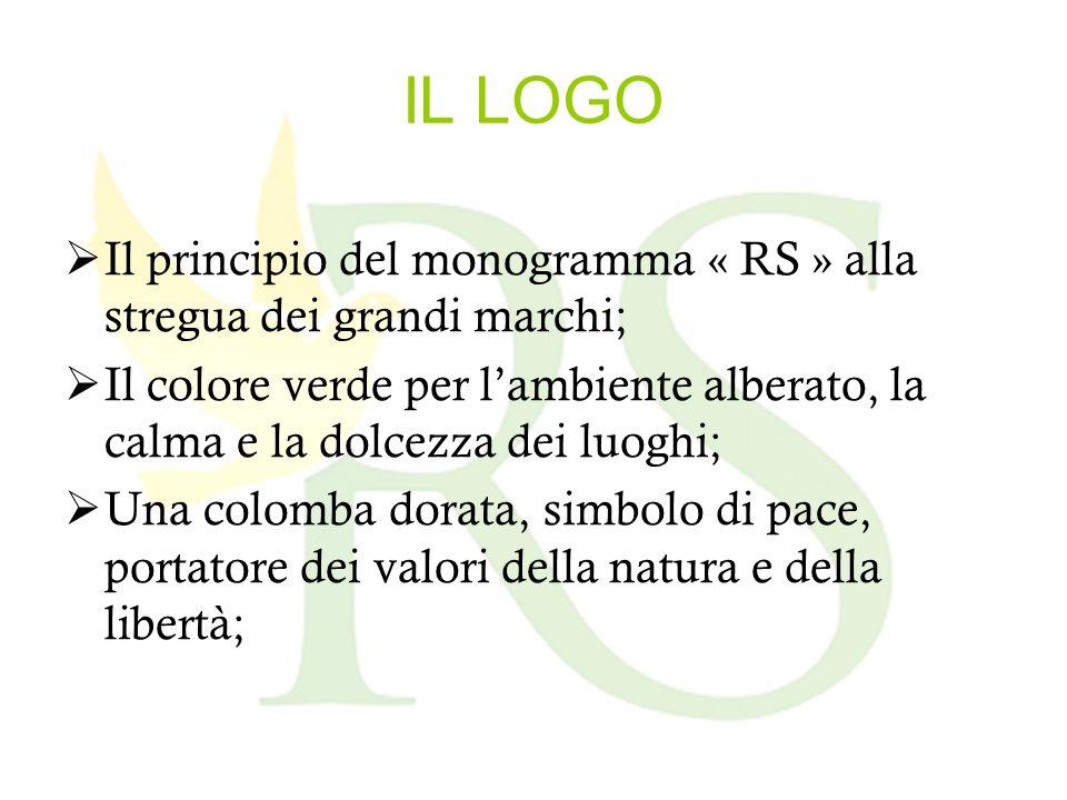 IL LOGO Il principio del monogramma « RS » alla stregua dei grandi marchi; Il colore verde per lambiente alberato, la calma e la dolcezza dei luoghi; Una colomba dorata, simbolo di pace, portatore dei valori della natura e della libertà;