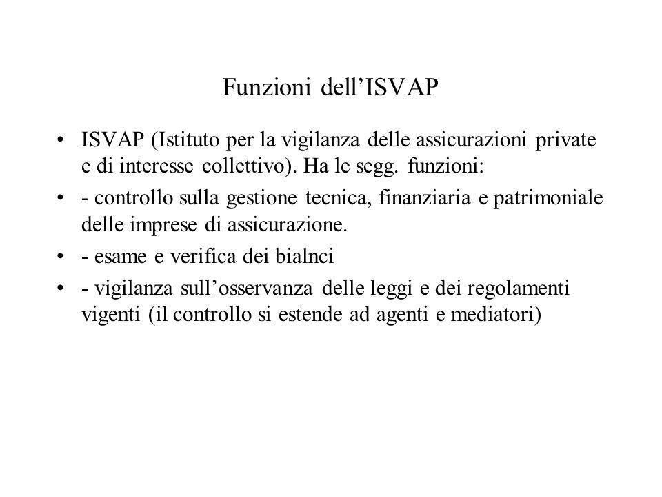 Funzioni dellISVAP ISVAP (Istituto per la vigilanza delle assicurazioni private e di interesse collettivo). Ha le segg. funzioni: - controllo sulla ge