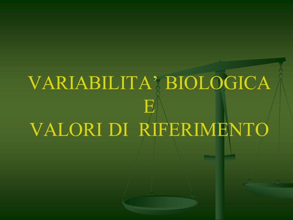 VARIABILITA BIOLOGICA E VALORI DI RIFERIMENTO