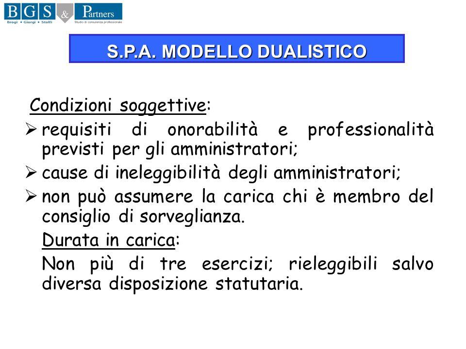 Condizioni soggettive: requisiti di onorabilità e professionalità previsti per gli amministratori; cause di ineleggibilità degli amministratori; non p