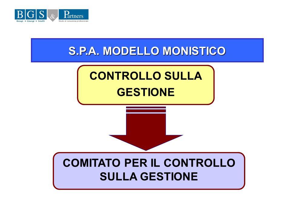 S.P.A. MODELLO MONISTICO COMITATO PER IL CONTROLLO SULLA GESTIONE CONTROLLO SULLA GESTIONE