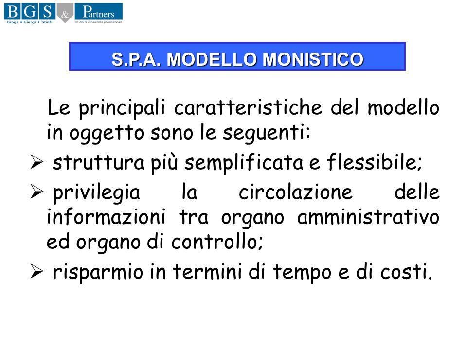 Le principali caratteristiche del modello in oggetto sono le seguenti: struttura più semplificata e flessibile; privilegia la circolazione delle infor