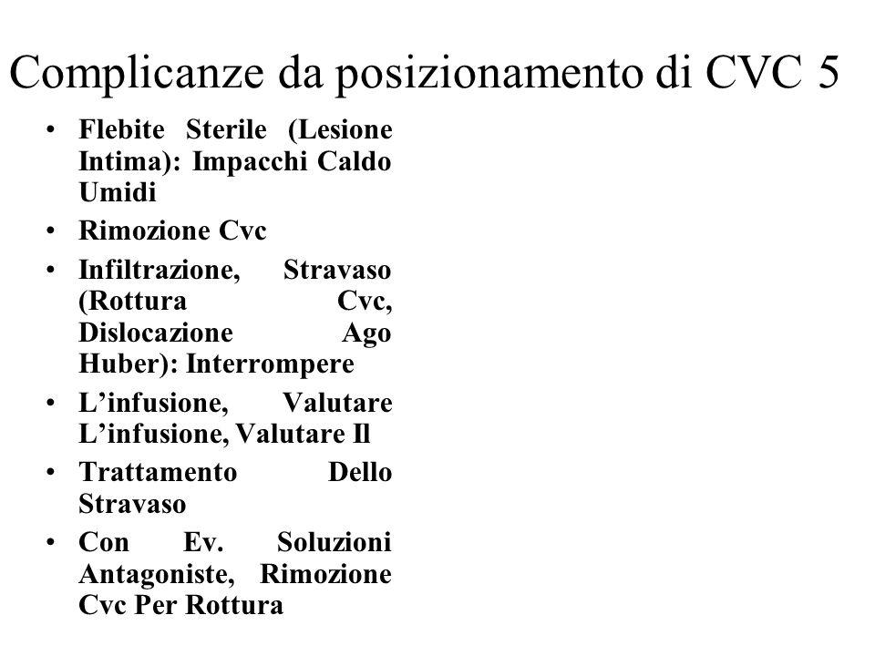 Complicanze da posizionamento di CVC 5 Flebite Sterile (Lesione Intima): Impacchi Caldo Umidi Rimozione Cvc Infiltrazione, Stravaso (Rottura Cvc, Disl