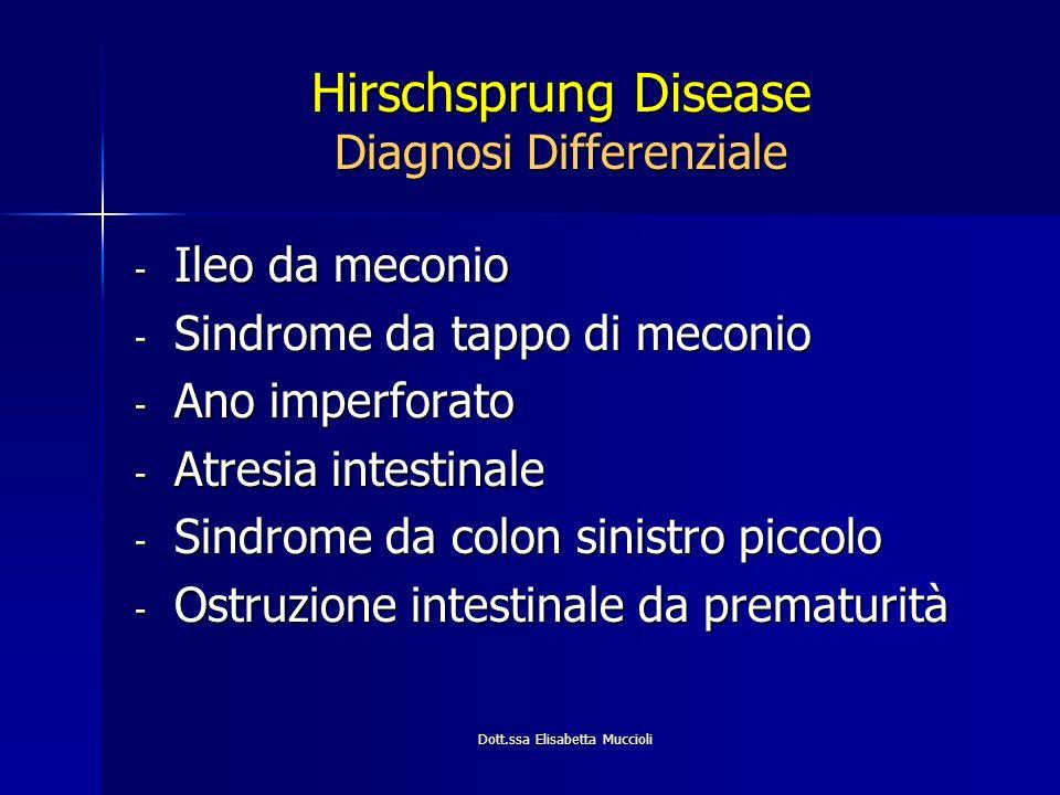 Dott.ssa Elisabetta Muccioli Hirschsprung Disease Diagnosi Differenziale - Ileo da meconio - Sindrome da tappo di meconio - Ano imperforato - Atresia