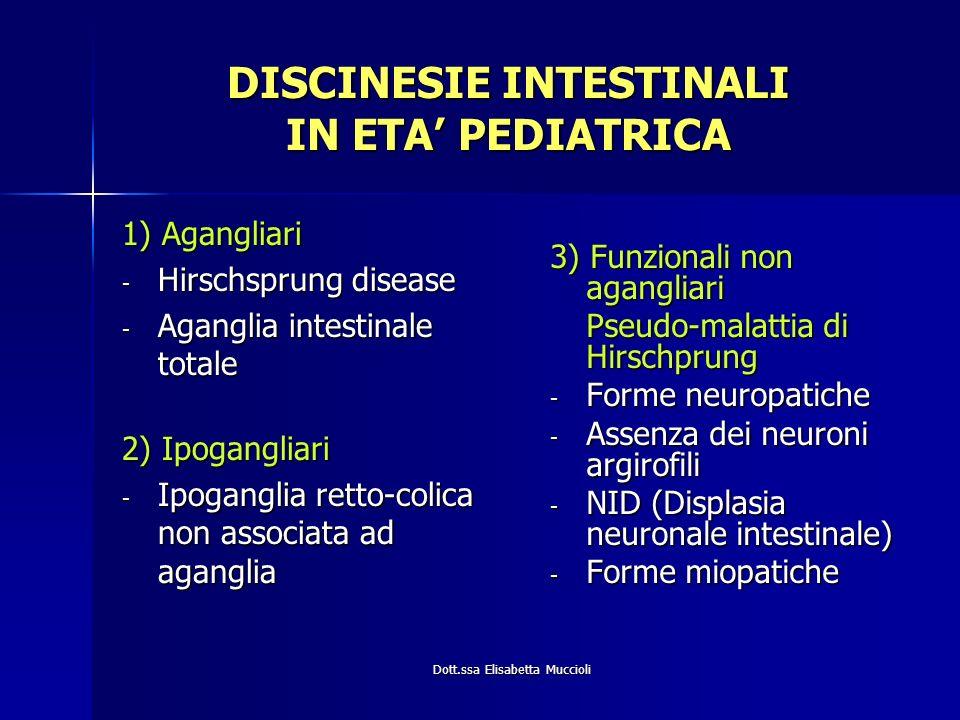 Dott.ssa Elisabetta Muccioli DISCINESIE INTESTINALI IN ETA PEDIATRICA 1) Agangliari - Hirschsprung disease - Aganglia intestinale totale 2) Ipoganglia