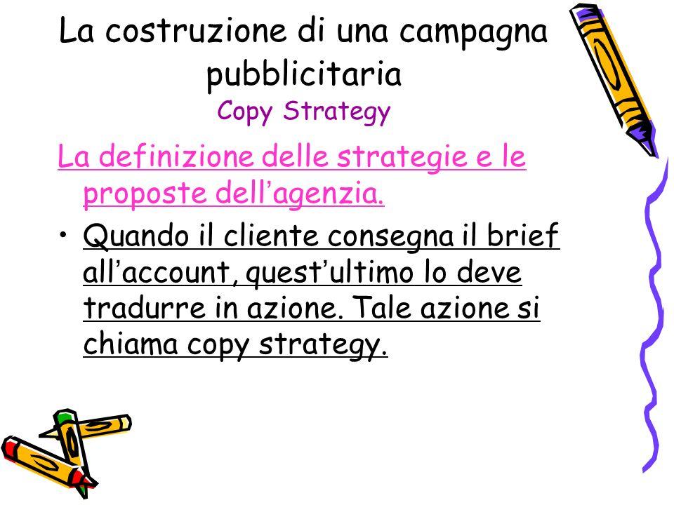 La costruzione di una campagna pubblicitaria Copy Strategy La definizione delle strategie e le proposte dell agenzia. Quando il cliente consegna il br