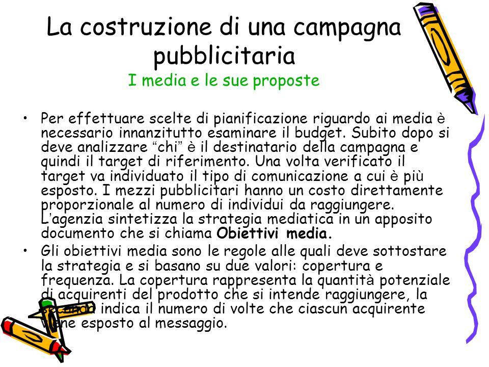 La costruzione di una campagna pubblicitaria I media e le sue proposte Per effettuare scelte di pianificazione riguardo ai media è necessario innanzit