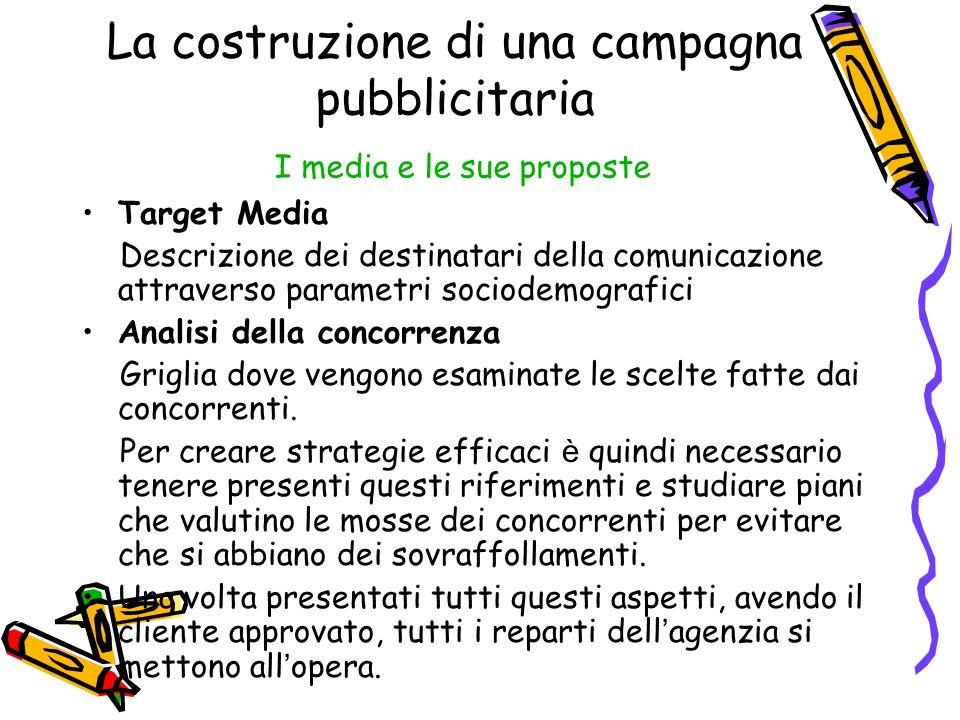 La costruzione di una campagna pubblicitaria I media e le sue proposte Target Media Descrizione dei destinatari della comunicazione attraverso paramet