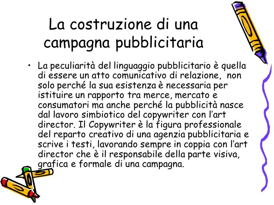La costruzione di una campagna pubblicitaria La peculiarità del linguaggio pubblicitario è quella di essere un atto comunicativo di relazione, non sol