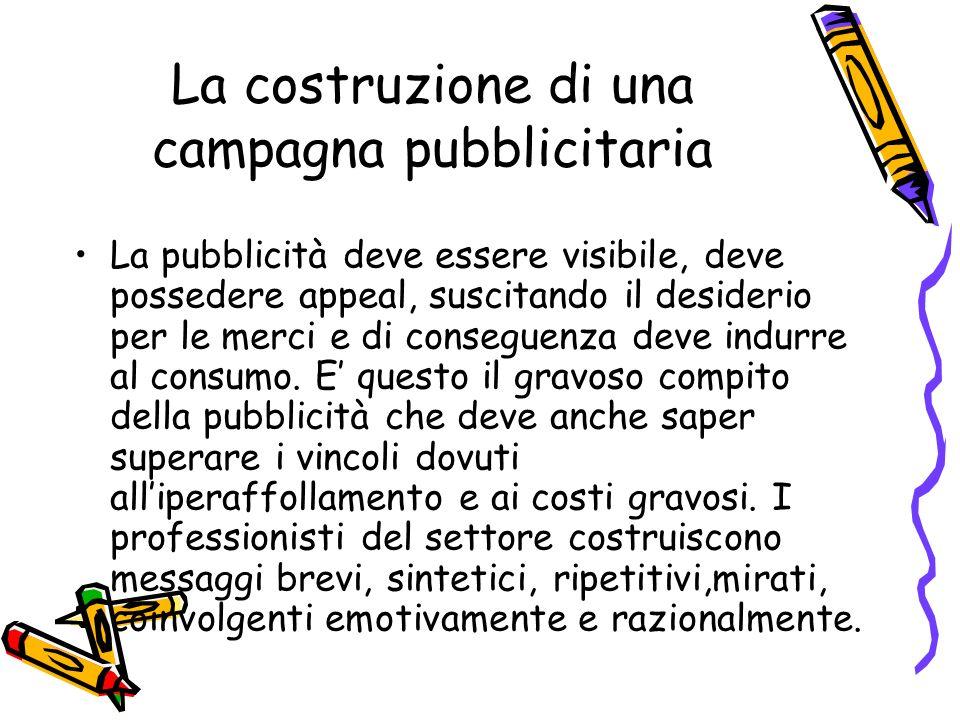 La costruzione di una campagna pubblicitaria La pubblicità deve essere visibile, deve possedere appeal, suscitando il desiderio per le merci e di cons