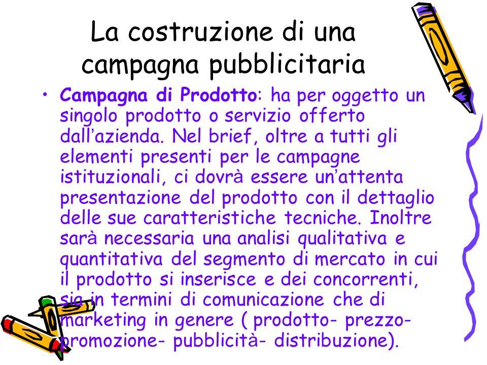 La costruzione di una campagna pubblicitaria Campagna di Prodotto: ha per oggetto un singolo prodotto o servizio offerto dall azienda. Nel brief, oltr