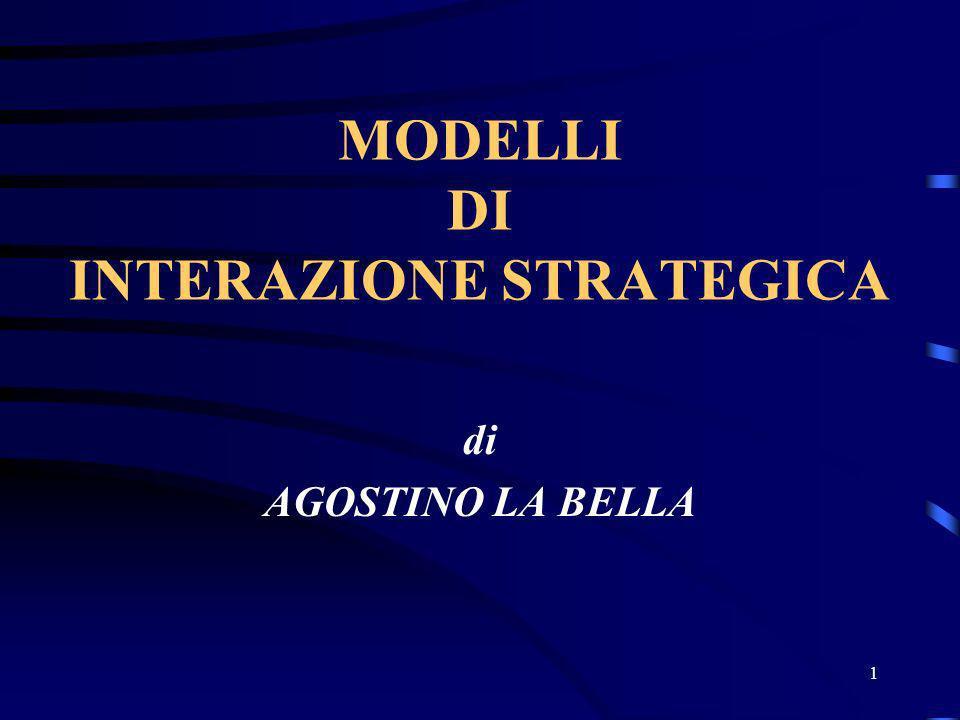 1 MODELLI DI INTERAZIONE STRATEGICA di AGOSTINO LA BELLA