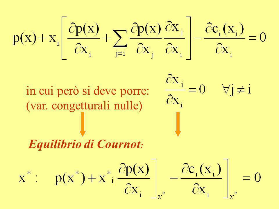 in cui però si deve porre: (var. congetturali nulle) Equilibrio di Cournot :