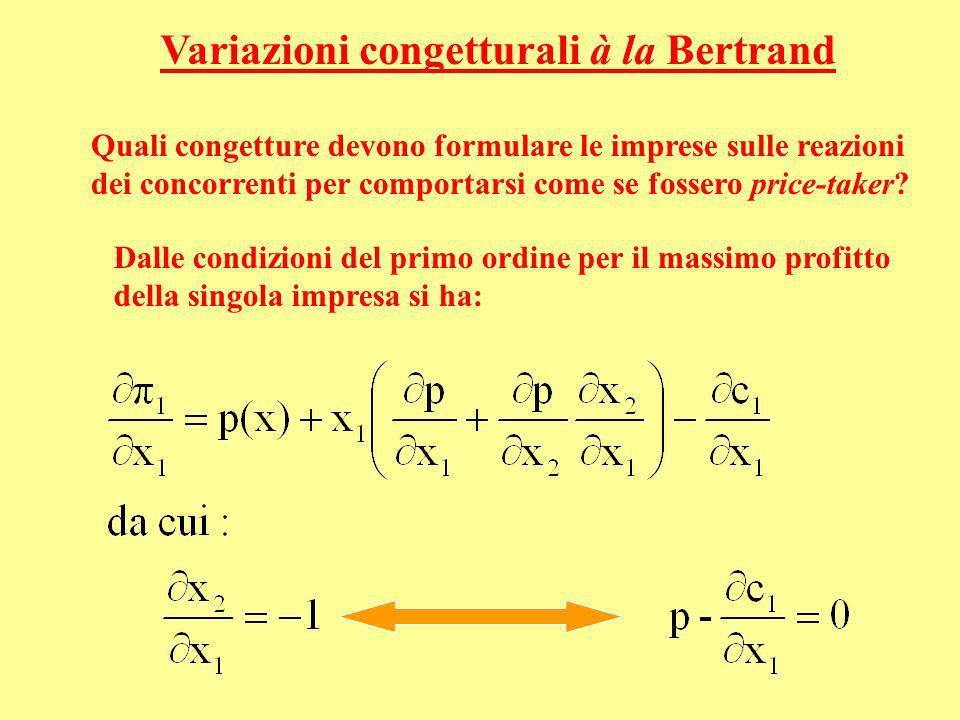 Variazioni congetturali à la Bertrand Quali congetture devono formulare le imprese sulle reazioni dei concorrenti per comportarsi come se fossero pric