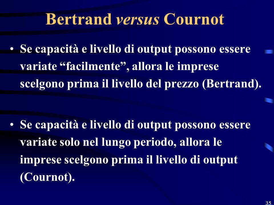 35 Bertrand versus Cournot Se capacità e livello di output possono essere variate facilmente, allora le imprese scelgono prima il livello del prezzo (