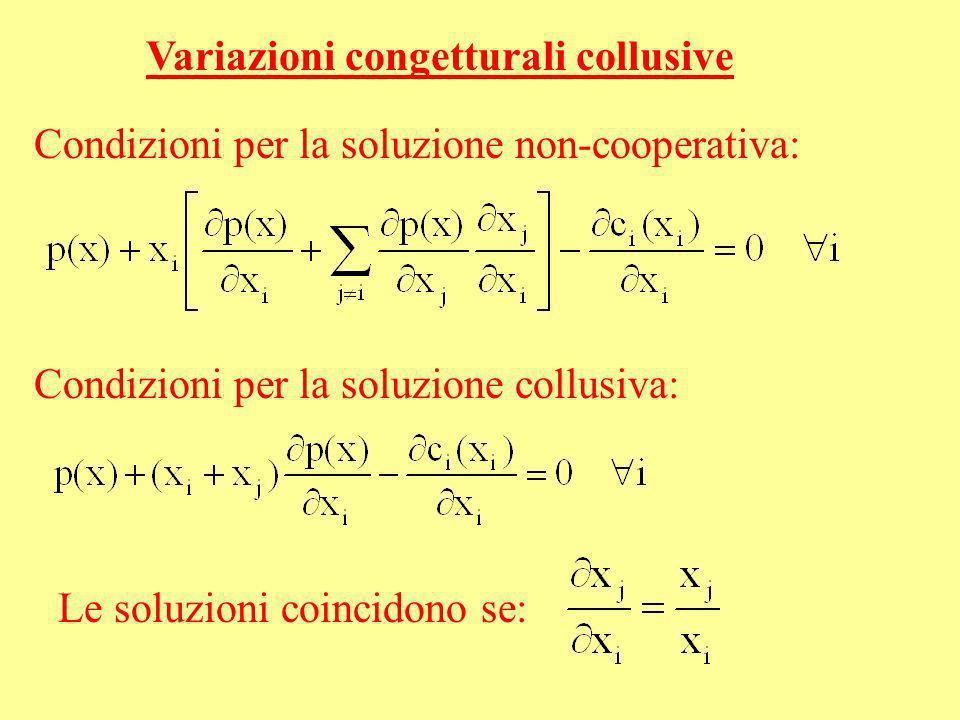 Variazioni congetturali collusive Condizioni per la soluzione non-cooperativa: Condizioni per la soluzione collusiva: Le soluzioni coincidono se: