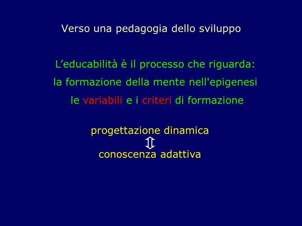 Verso una pedagogia dello sviluppo Leducabilità è il processo che riguarda: la formazione della mente nell'epigenesi le variabili e i criteri di forma