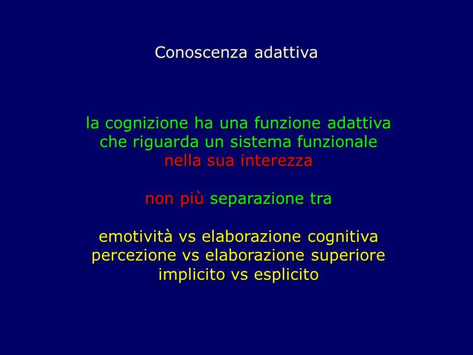 Conoscenza adattiva la cognizione ha una funzione adattiva che riguarda un sistema funzionale nella sua interezza non più separazione tra emotività vs