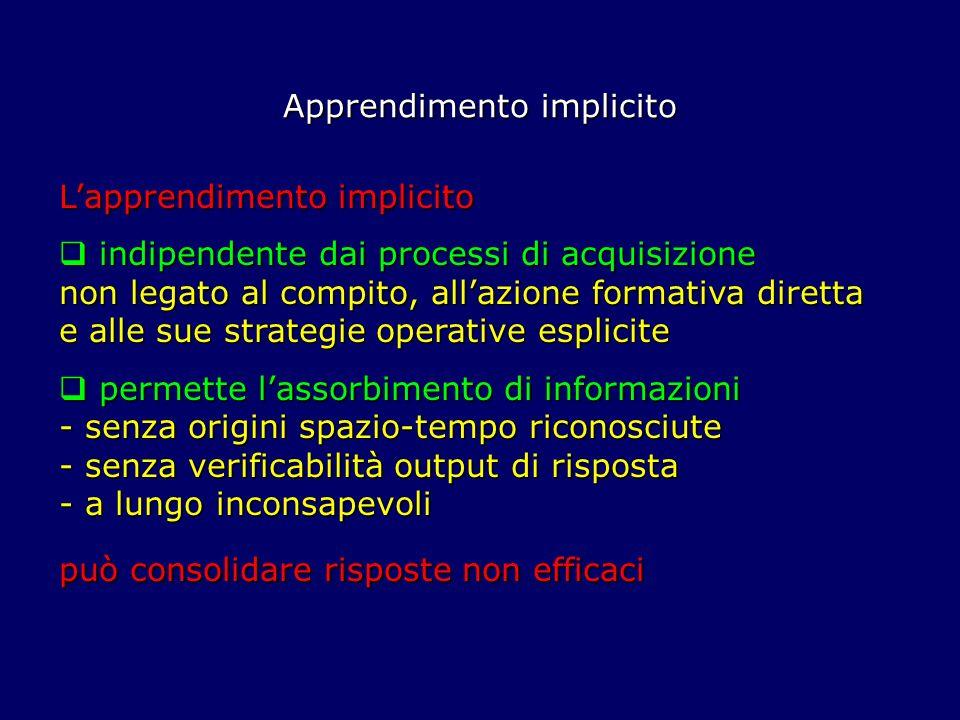 Lapprendimento implicito indipendente dai processi di acquisizione non legato al compito, allazione formativa diretta e alle sue strategie operative e