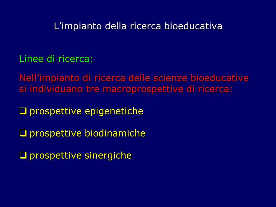 Limpianto della ricerca bioeducativa Linee di ricerca: Nellimpianto di ricerca delle scienze bioeducative si individuano tre macroprospettive di ricer