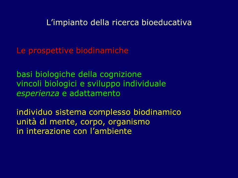 Limpianto della ricerca bioeducativa Le prospettive biodinamiche basi biologiche della cognizione vincoli biologici e sviluppo individuale esperienza