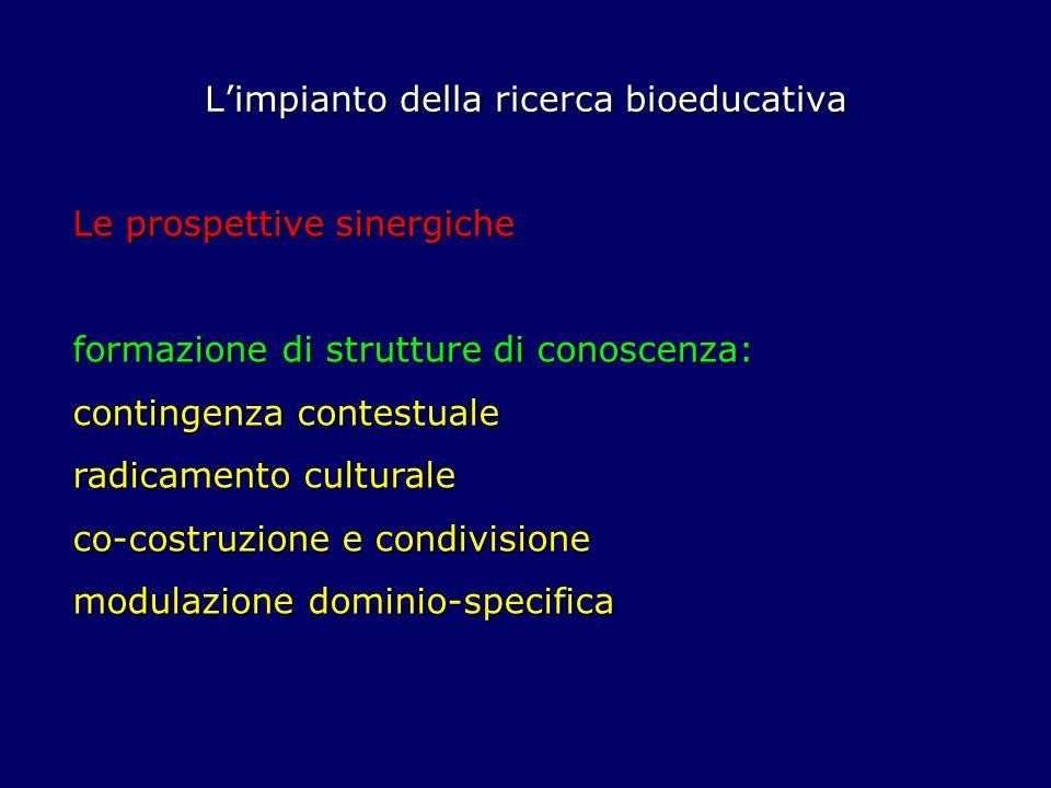 Limpianto della ricerca bioeducativa Le prospettive sinergiche formazione di strutture di conoscenza: contingenza contestuale radicamento culturale co