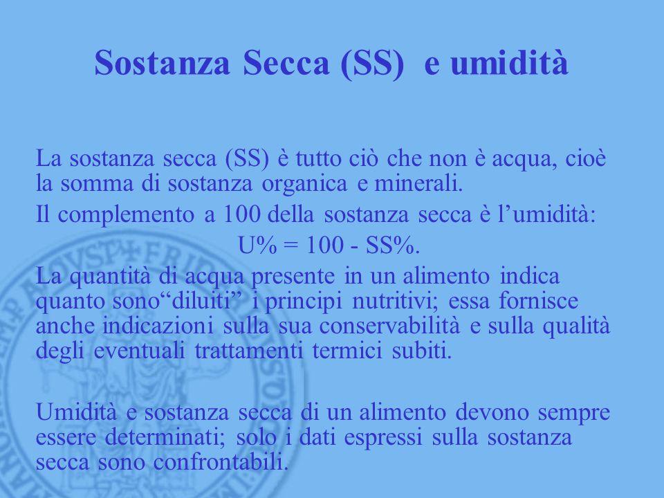 Sostanza Secca (SS) e umidità La sostanza secca (SS) è tutto ciò che non è acqua, cioè la somma di sostanza organica e minerali. Il complemento a 100