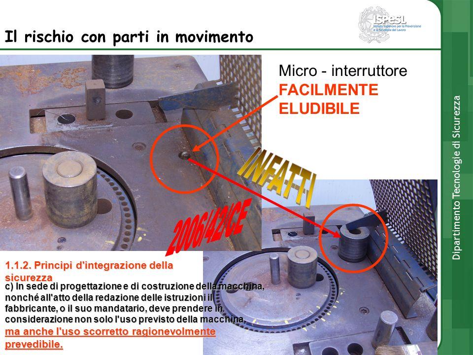 Il rischio con parti in movimento Micro - interruttore FACILMENTE ELUDIBILE Dipartimento Tecnologie di Sicurezza 1.1.2. Principi d'integrazione della