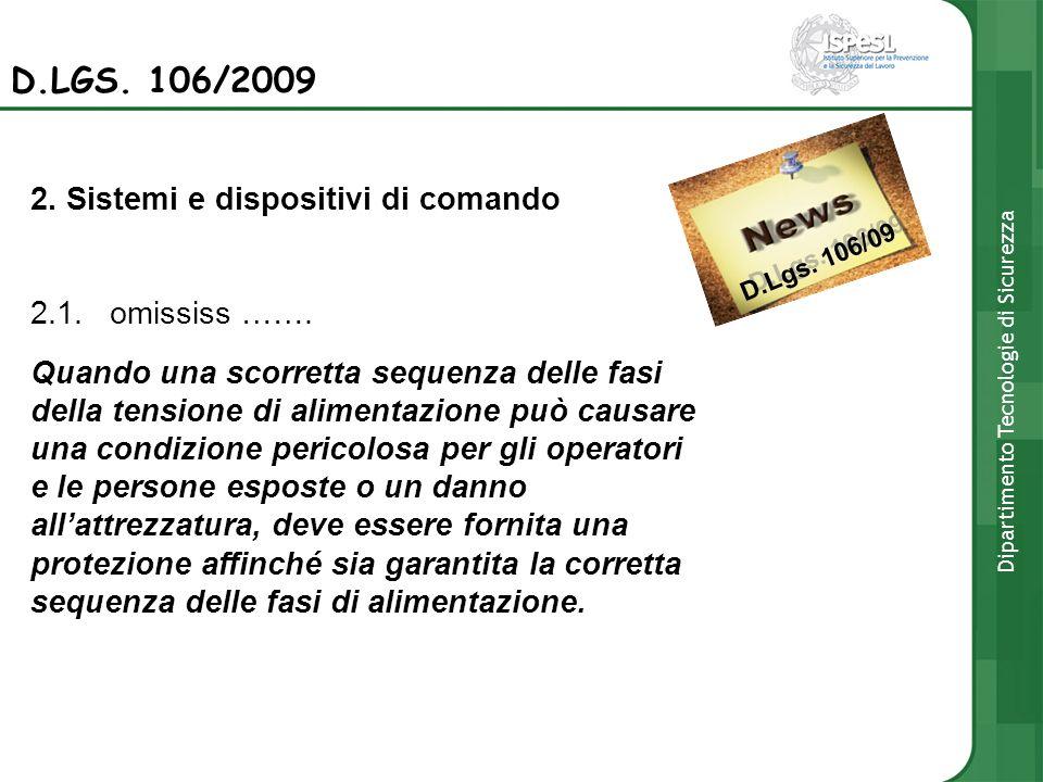 D.Lgs. 106/09 D.LGS. 106/2009 2. Sistemi e dispositivi di comando 2.1. omississ ……. Quando una scorretta sequenza delle fasi della tensione di aliment