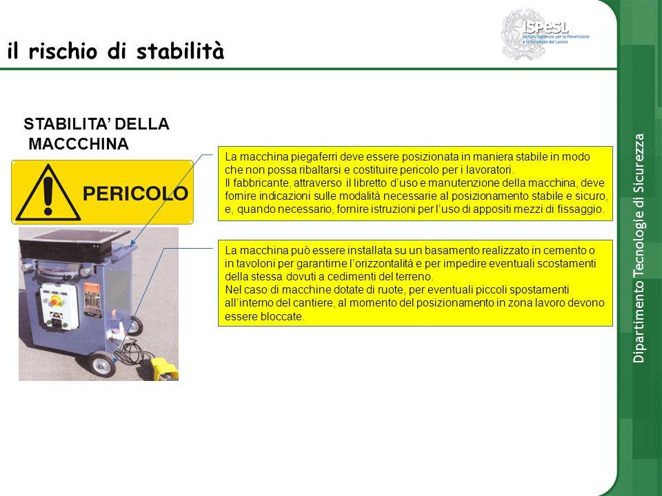 STABILITA DELLA MACCCHINA La macchina piegaferri deve essere posizionata in maniera stabile in modo che non possa ribaltarsi e costituire pericolo per