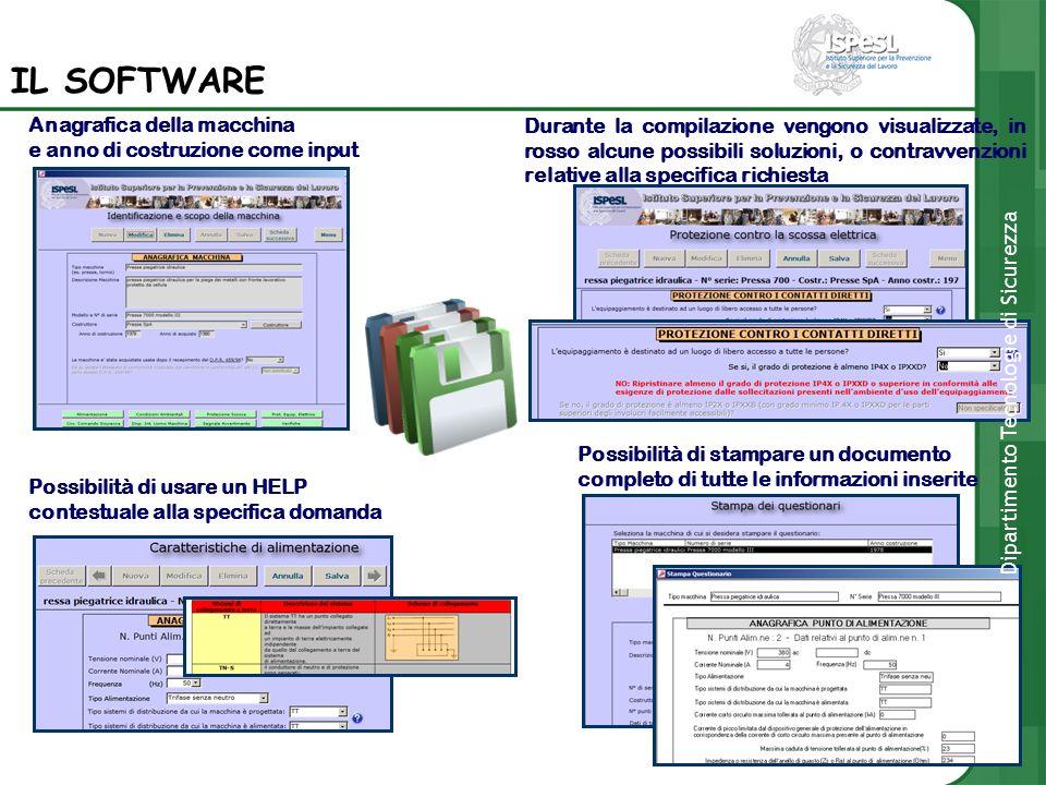 Anagrafica della macchina e anno di costruzione come input Possibilità di usare un HELP contestuale alla specifica domanda Durante la compilazione ven