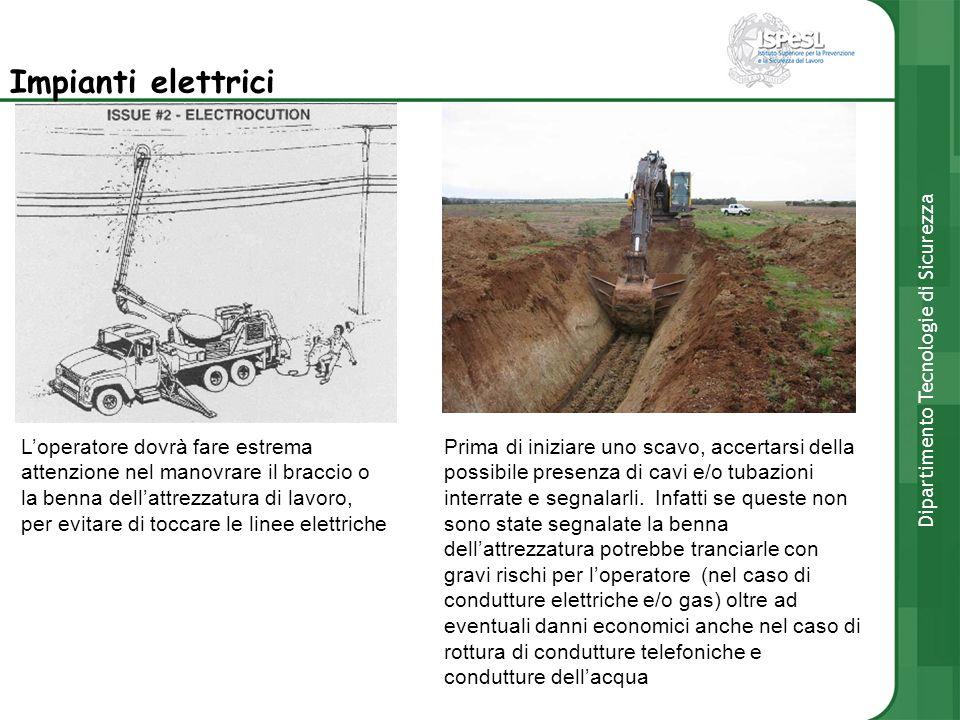 Impianti elettrici Loperatore dovrà fare estrema attenzione nel manovrare il braccio o la benna dellattrezzatura di lavoro, per evitare di toccare le