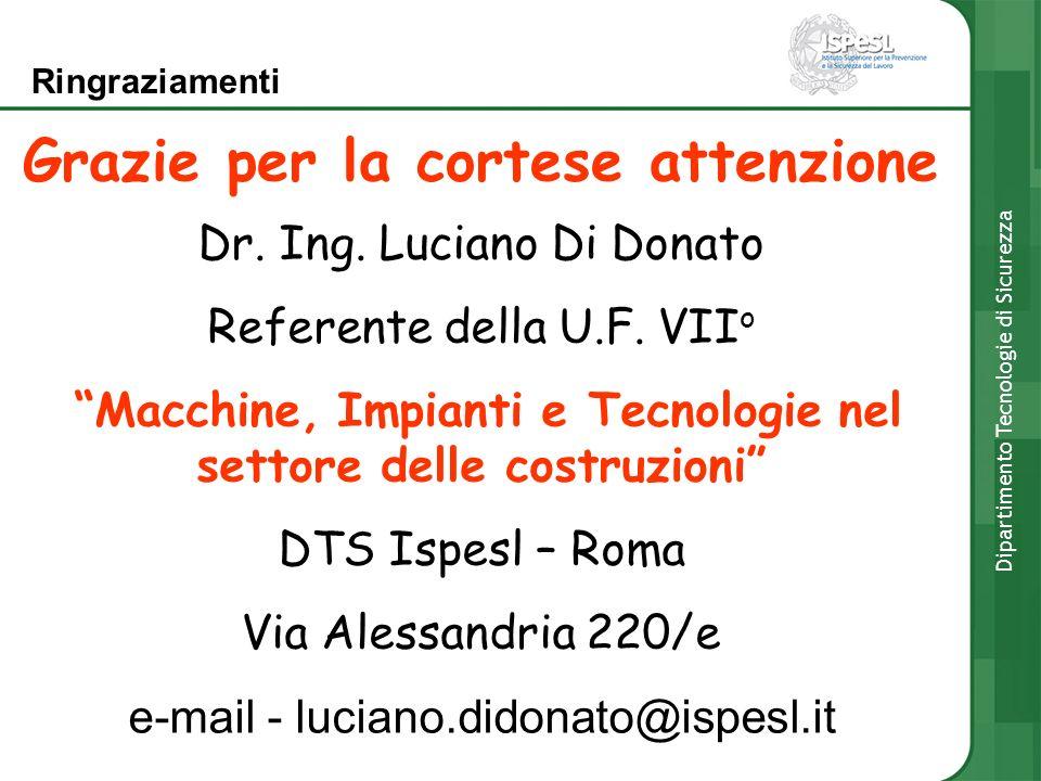 Grazie per la cortese attenzione Dr. Ing. Luciano Di Donato Referente della U.F. VII o Macchine, Impianti e Tecnologie nel settore delle costruzioni D
