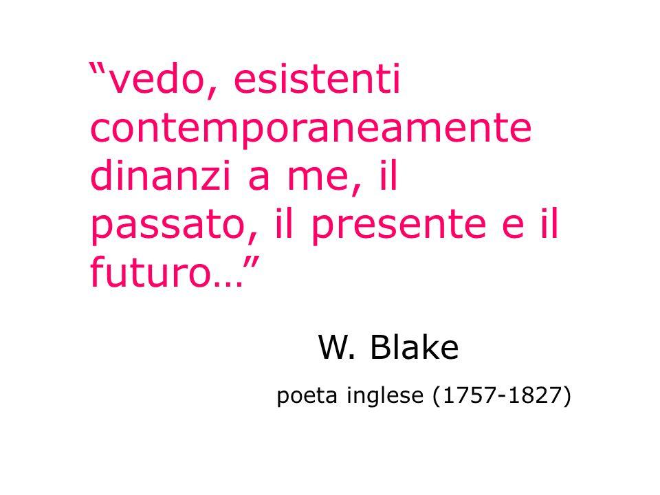 vedo, esistenti contemporaneamente dinanzi a me, il passato, il presente e il futuro… W. Blake poeta inglese (1757-1827)