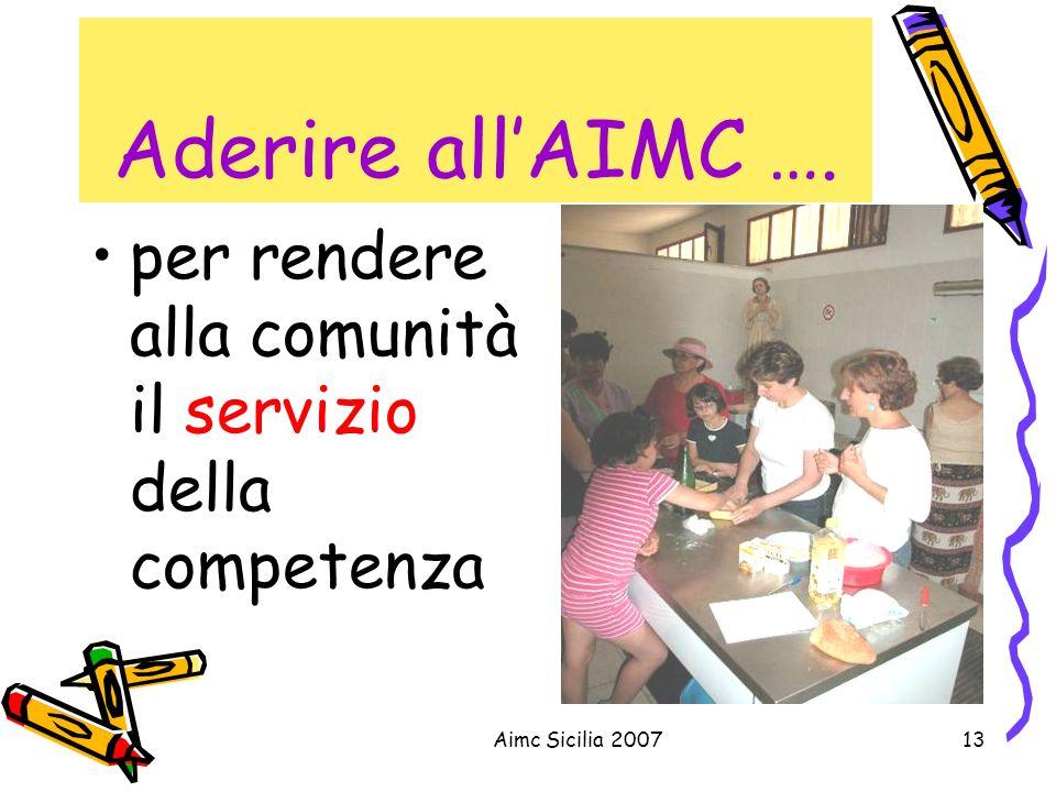 Aimc Sicilia 200713 Aderire allAIMC …. per rendere alla comunità il servizio della competenza